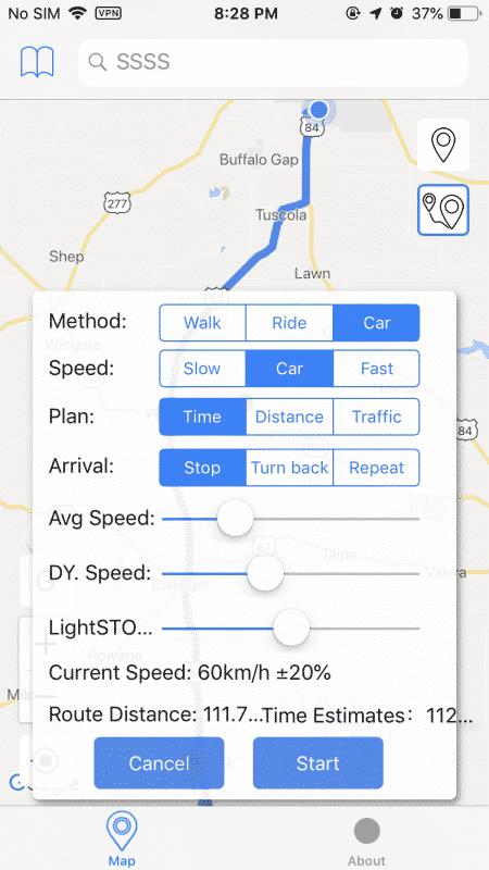 falso iPhone ruta de localización GPS